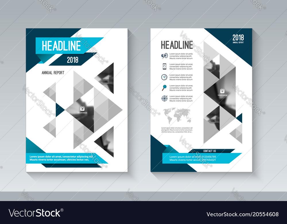 Blue business brochure flyer in geometric style