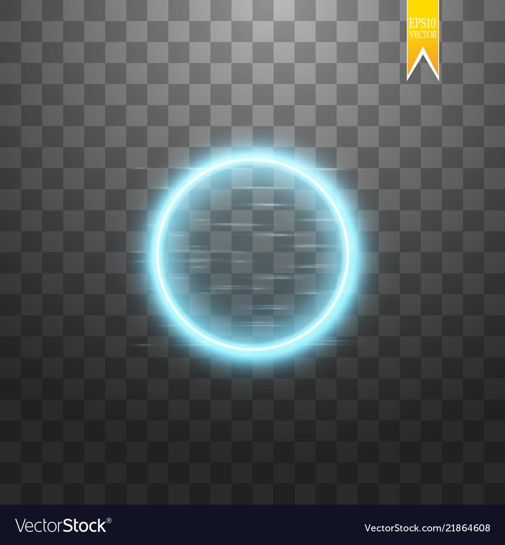 Blue round frame shining circle banner isolated