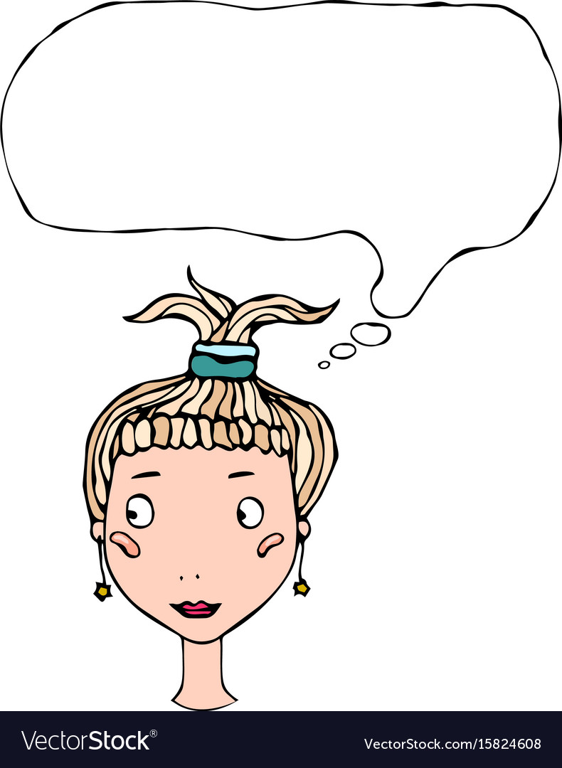 Cartoon cute pretty young girl head with thinking