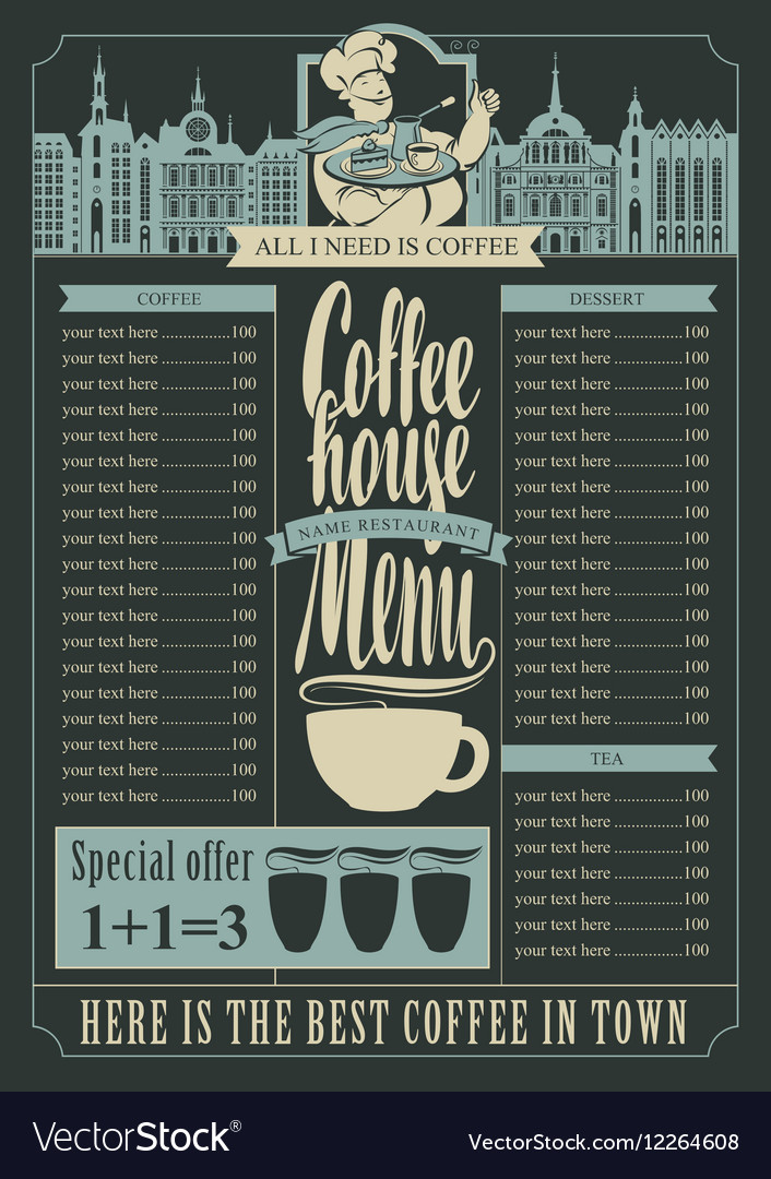 Coffee House Menu For A Price List