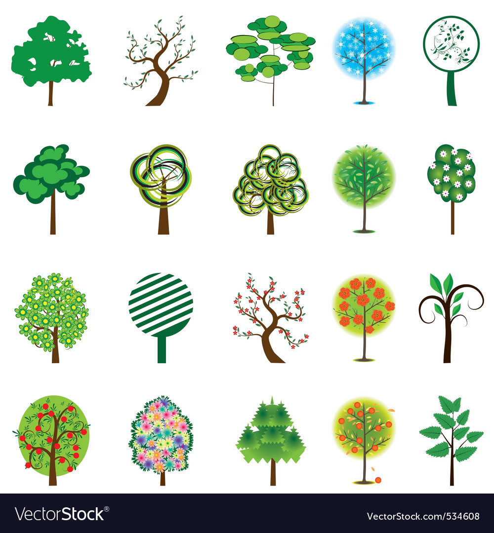 Collection of trees for design vector illustration