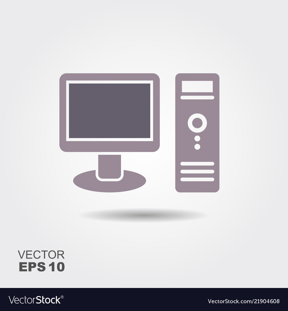 Desktop computer icon in flat style isolated on