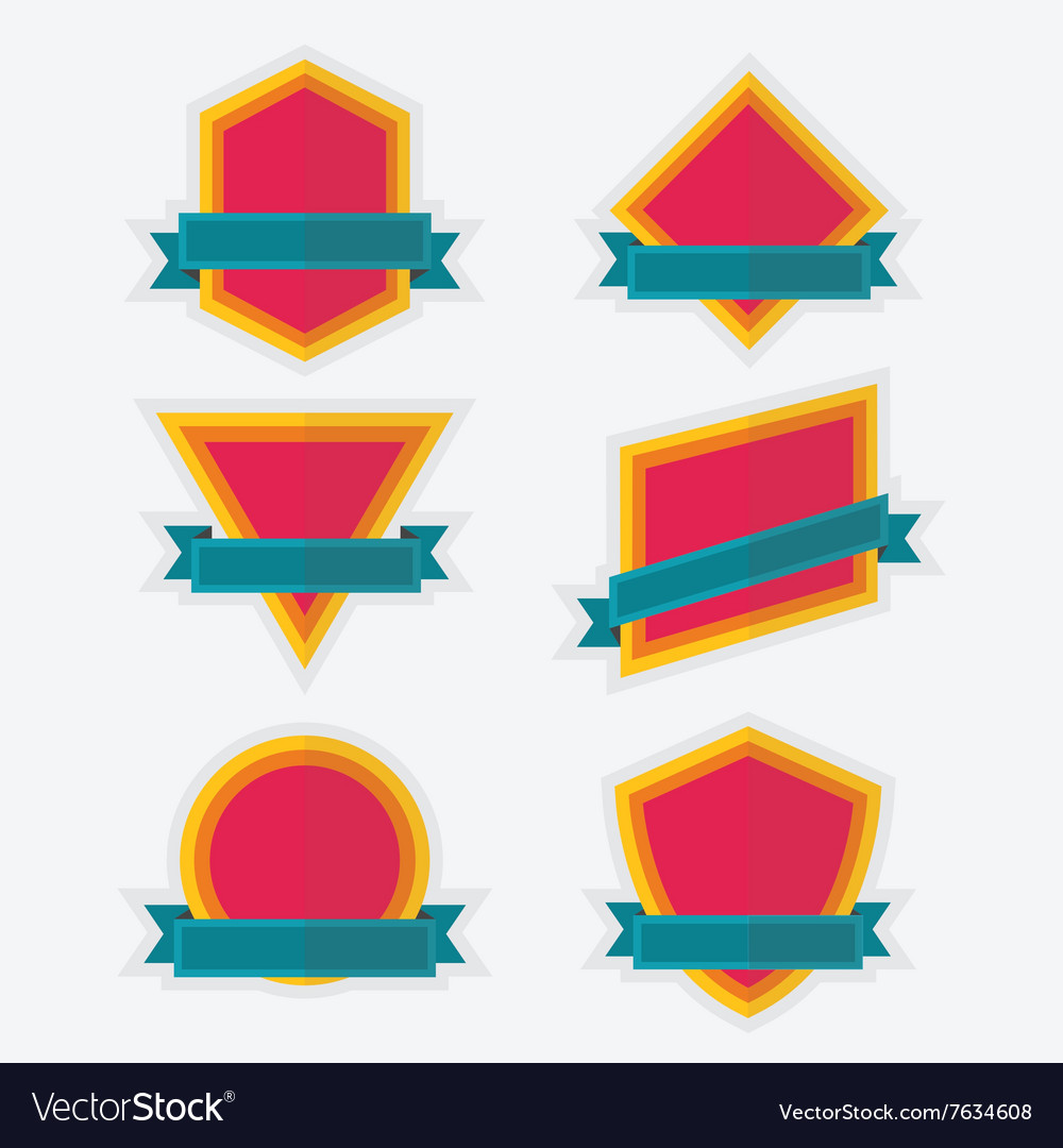 Empty colorful geometrical emblem and banners set vector image