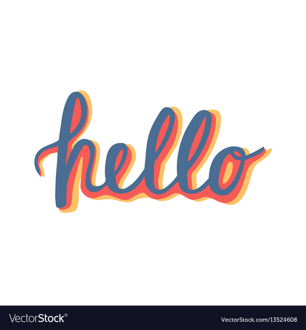 Hello quote hand lettering vintage greeting card