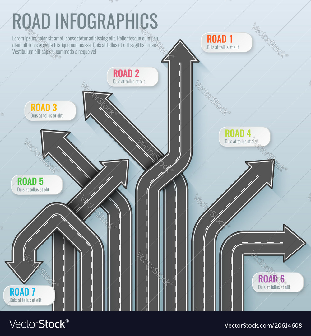 Infographics template with road map top view