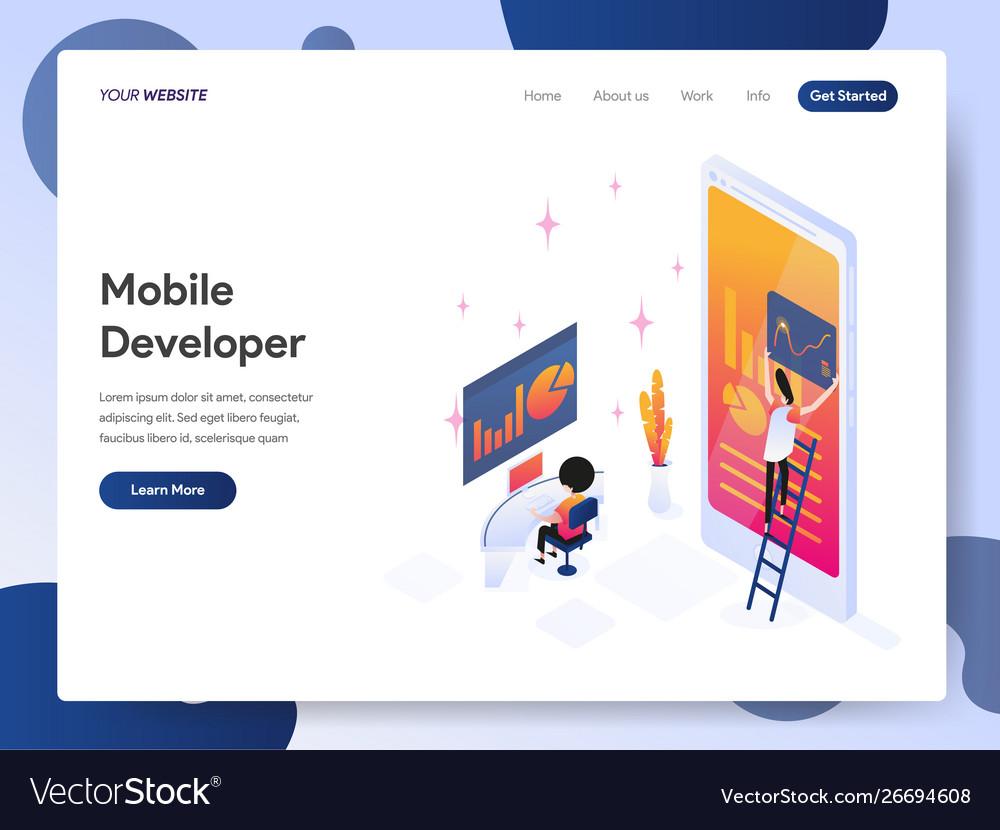 Mobile developer isometric concept