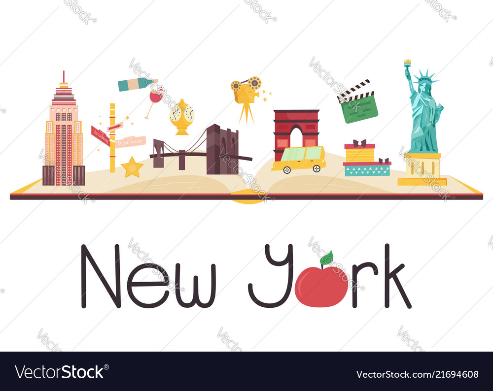 Postcard with famous new york destinations symbol