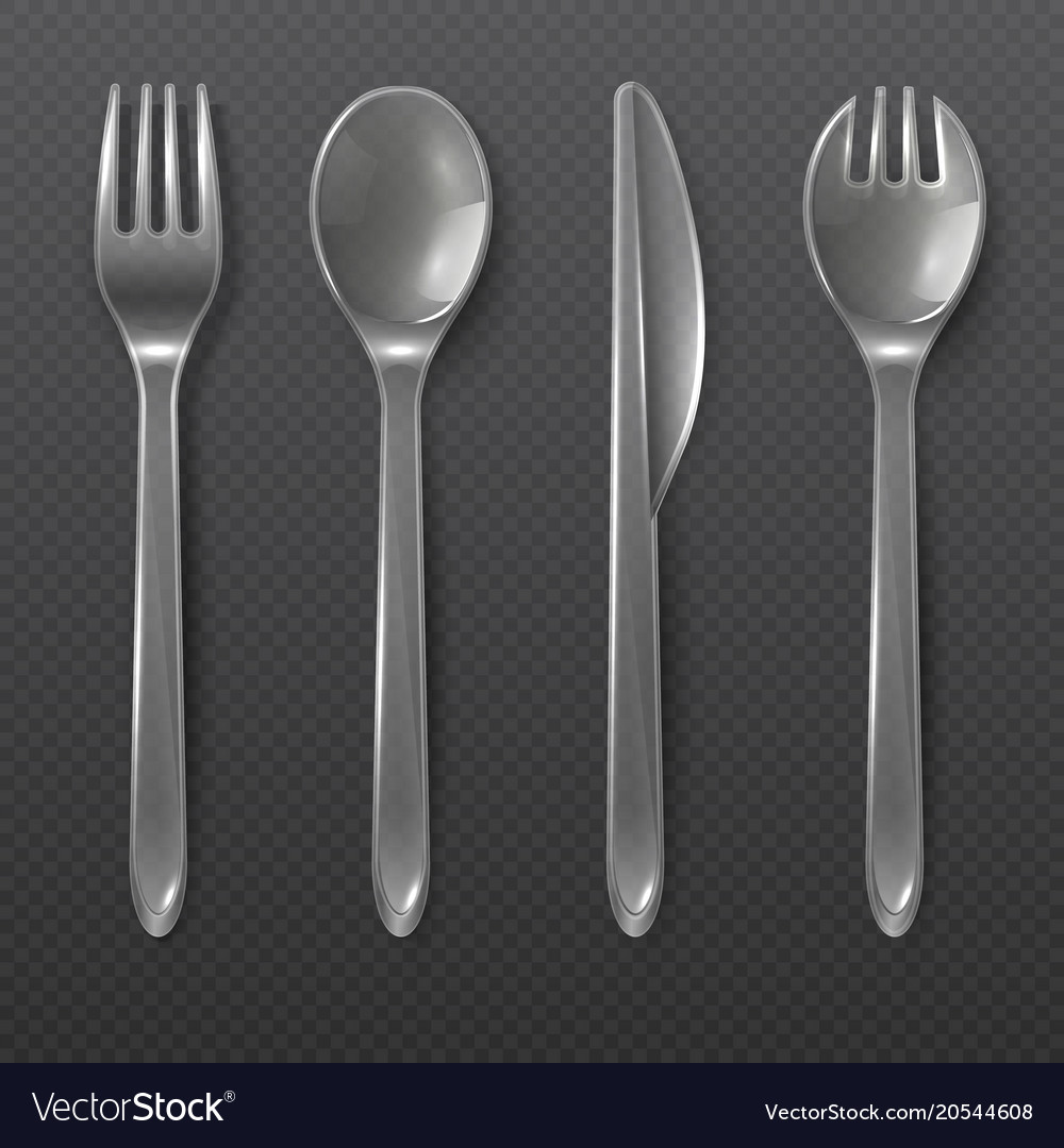 Realistic Transparent Plastic Cutlery Spoon Fork Vector Image