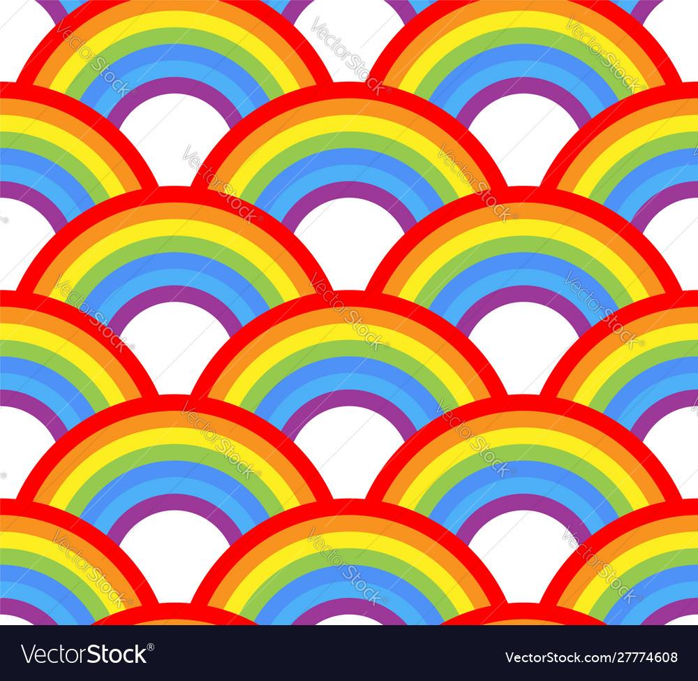 Seamless rainbow pattern on white background