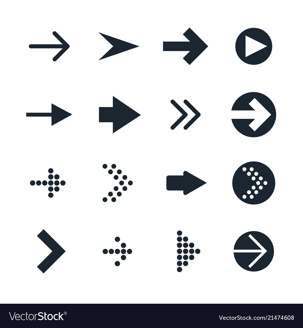 Set of black different arrows icon