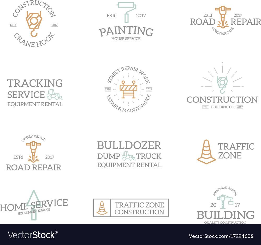 Set of retro vintage construction logo or insignia