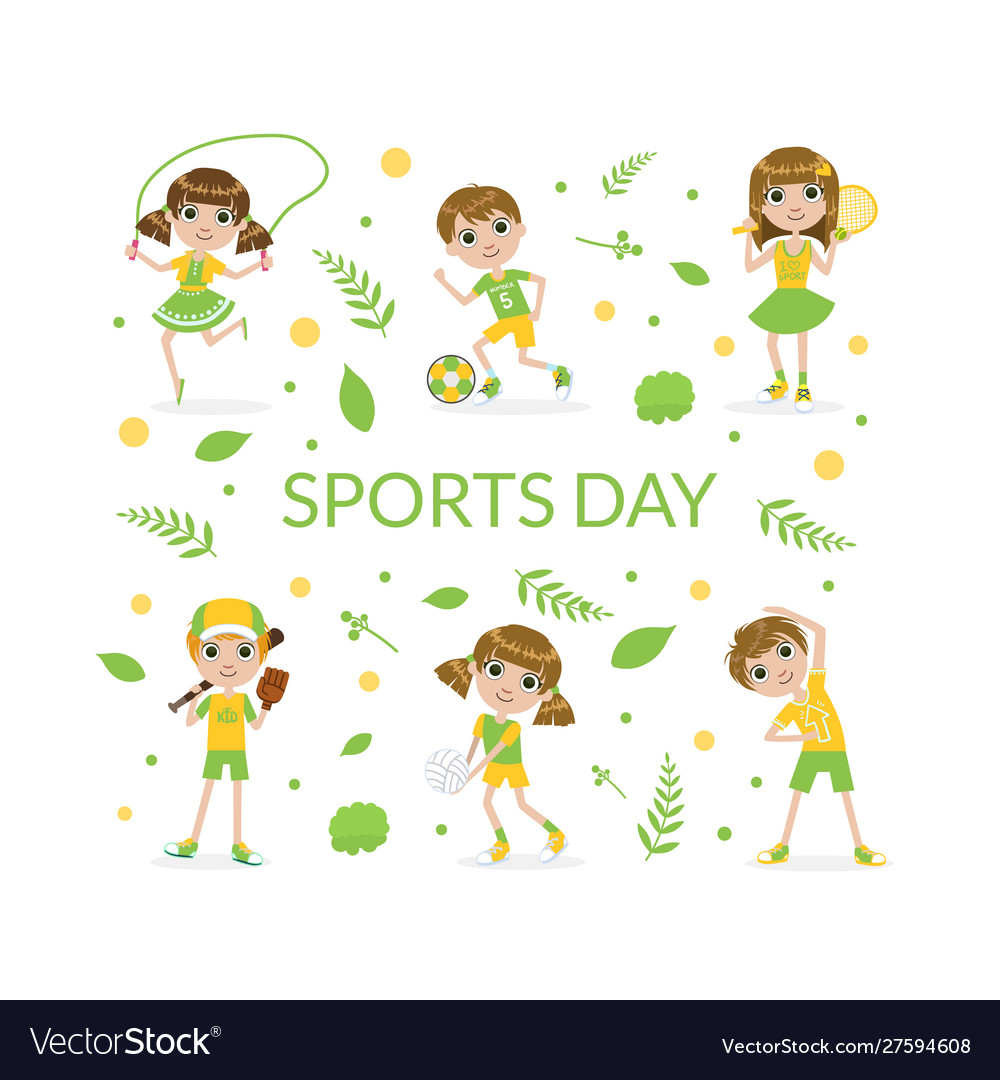 Sports banner template with cute kids kids playing