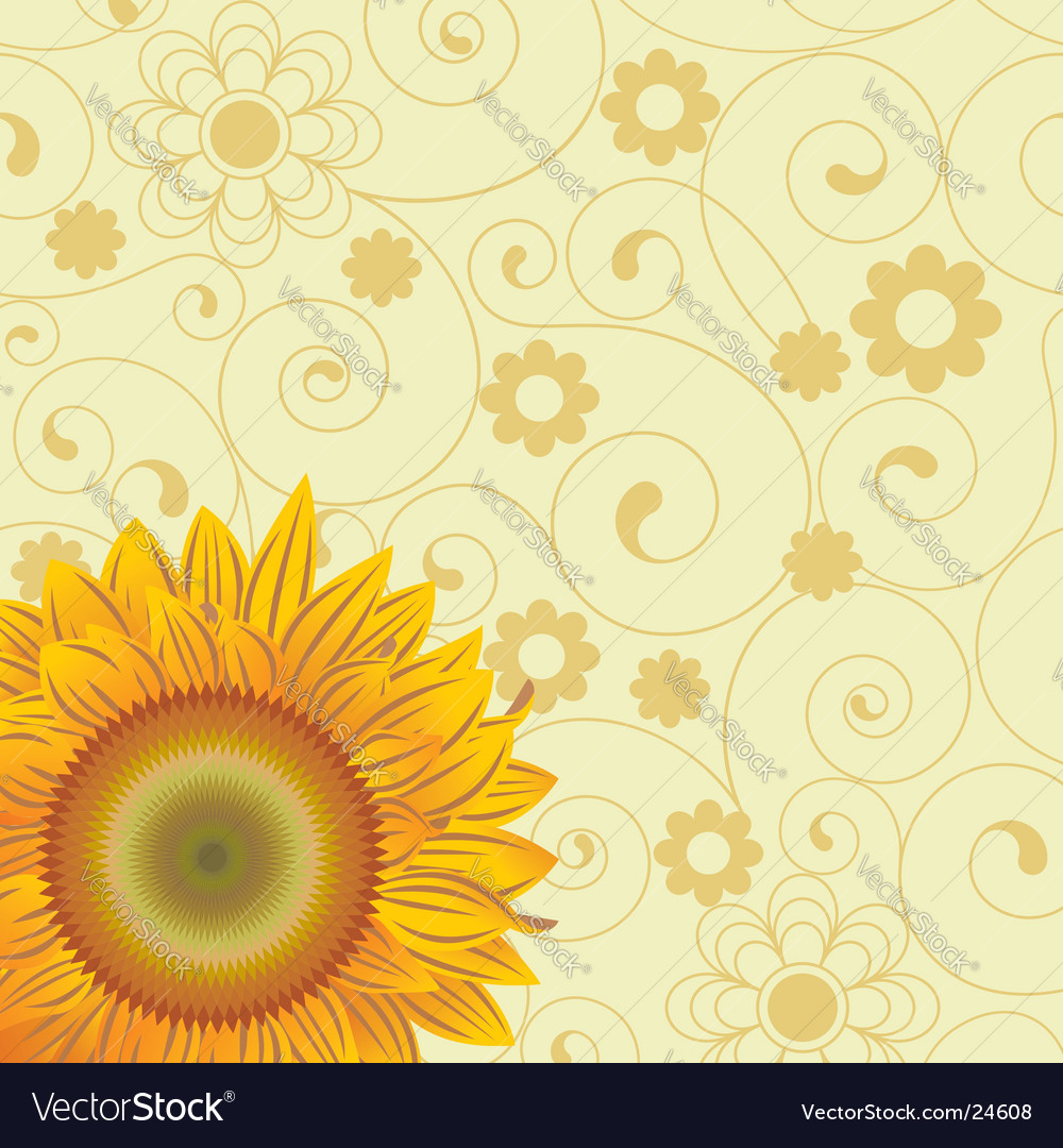 Background with chaotic lines and an abstract flowers and sunflower