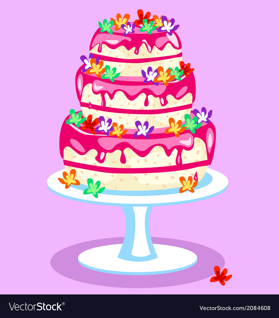 Three-tier-pink-cake Royalty Free Vector Image