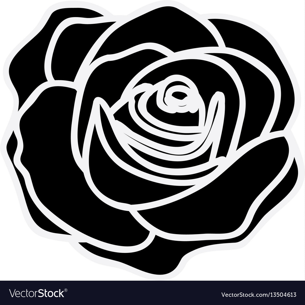Black silhouette with rose flower royalty free vector image black silhouette with rose flower vector image mightylinksfo