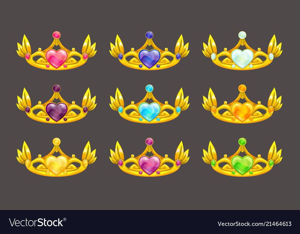 Cartoon golden princess crowns set
