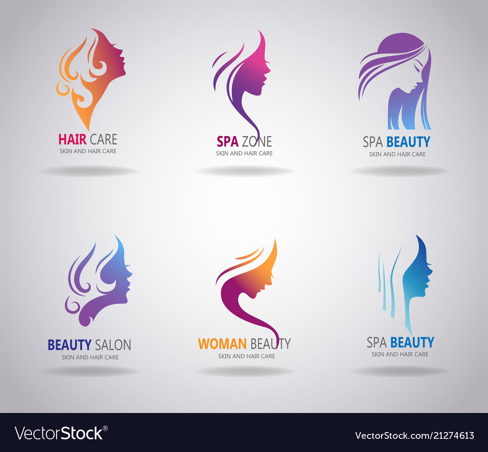 Girls portrait - silhouette icons