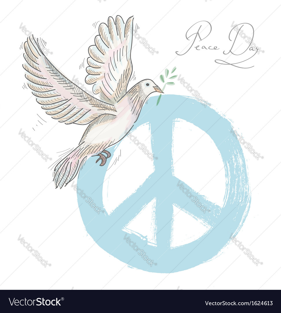 Hand drawn symbol peace dove texture background