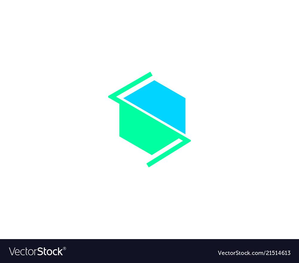 Initial s letter hexagonal logo