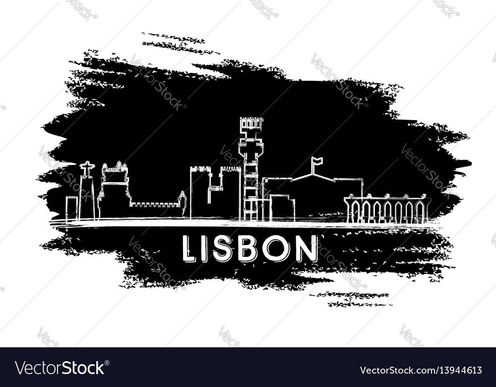 Lisbon skyline silhouette hand drawn sketch