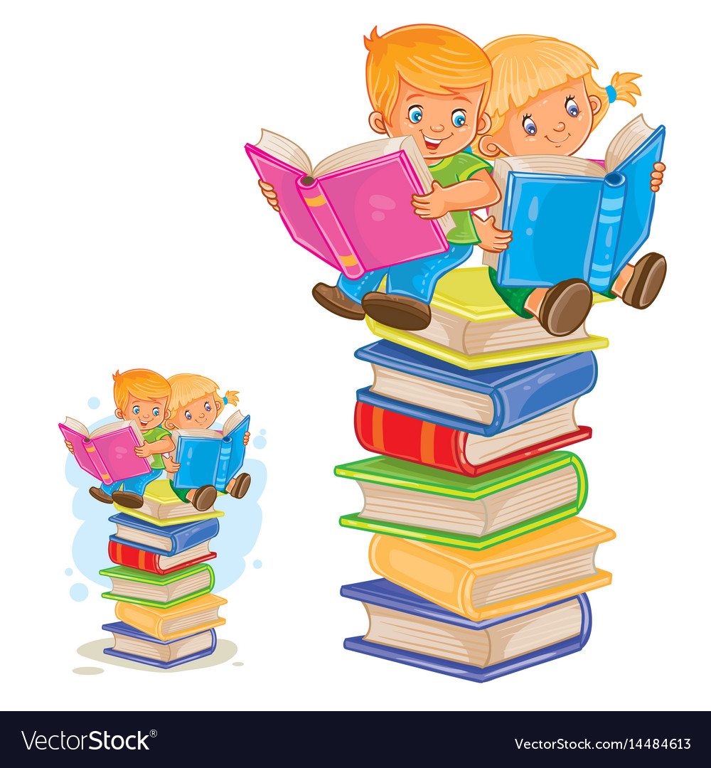 Little boy and girl sitting on a pile of vector image