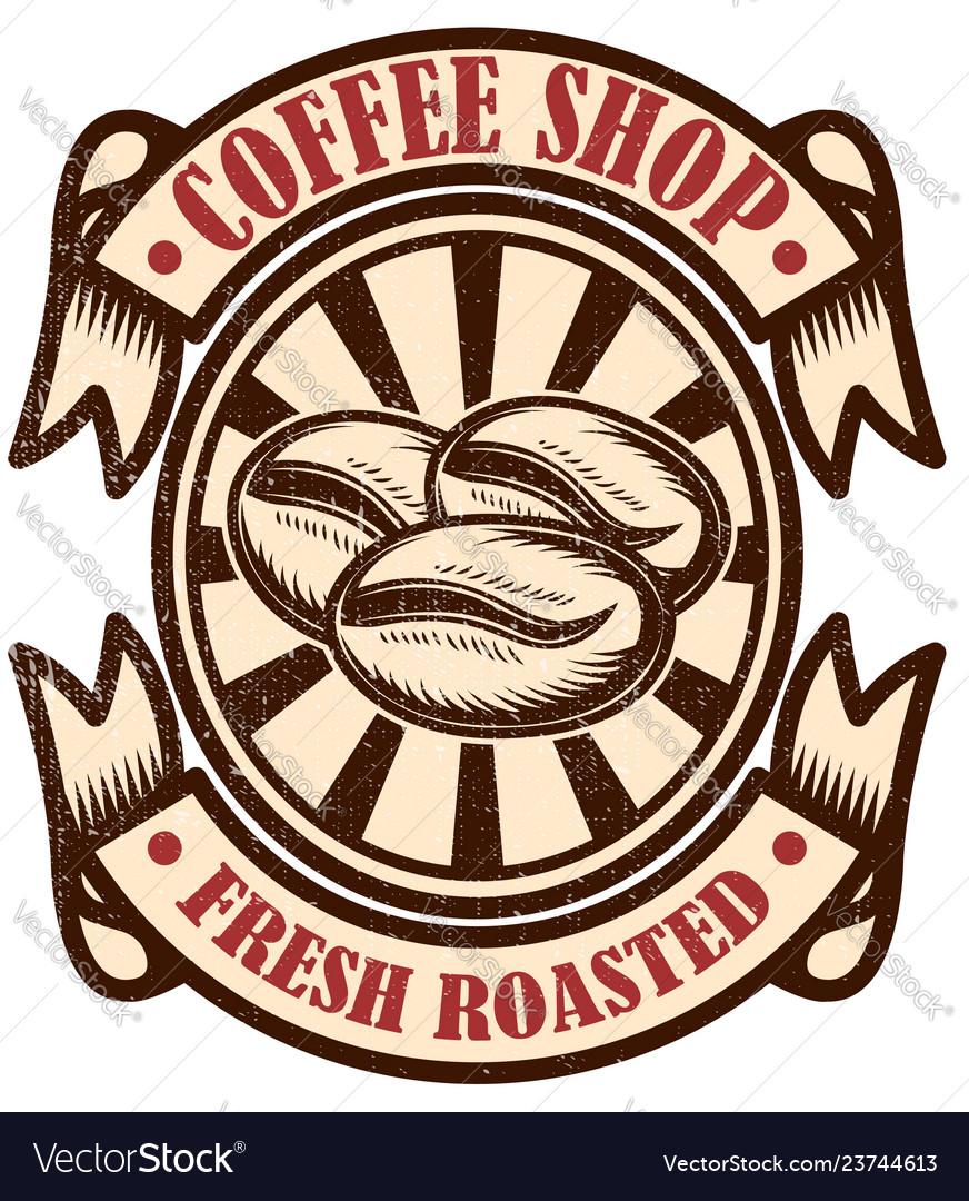Vintage coffee shop emblem design elements