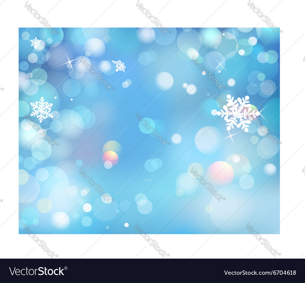 Blue Winter Shining Bokeh Background With