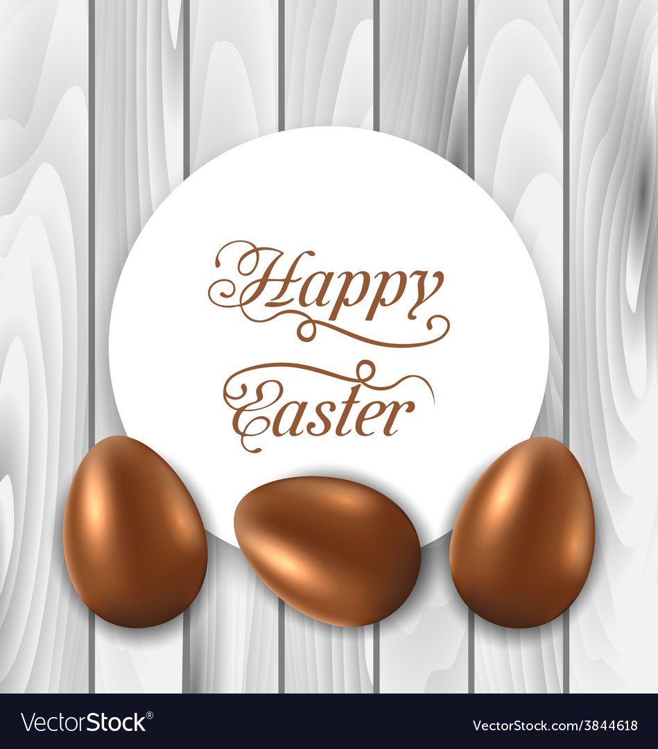 Celebration card with Easter chocolate eggs on