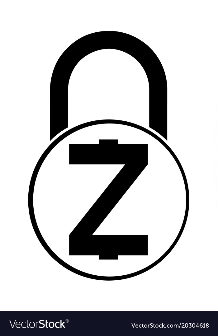 Electronic Security Lock Of Zcash Icon Vector Image