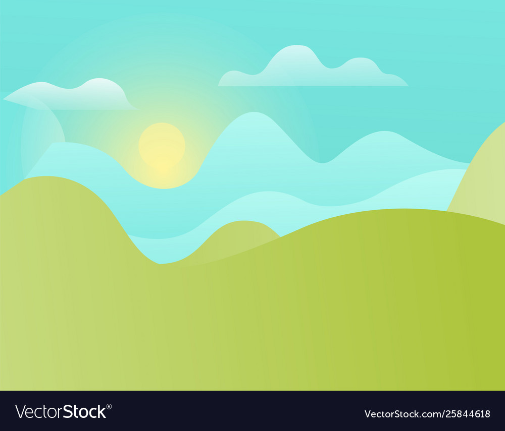 Green hills and blue sky with shining sun