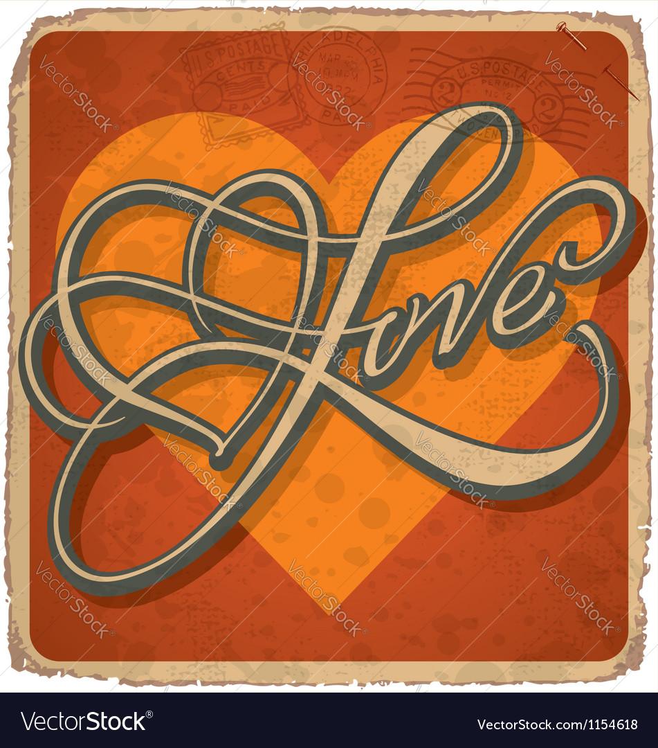 Hand-lettered vintage Valentines card