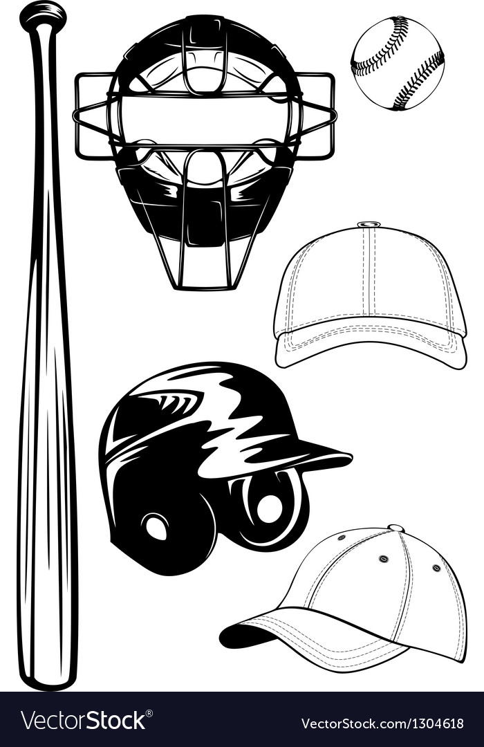 Helmet bat cap ball mask set