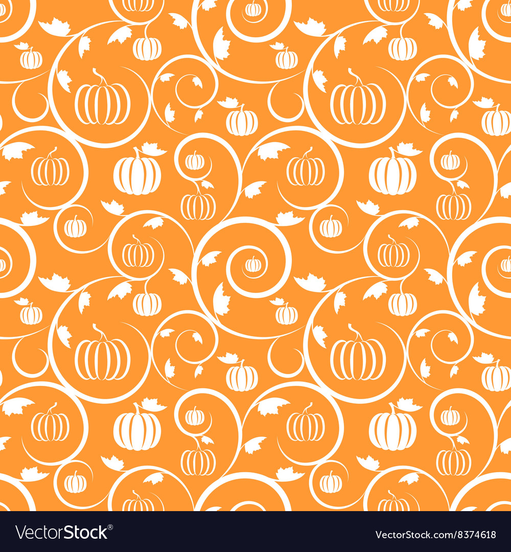 Orange seamless pattern with pumpkin leaves