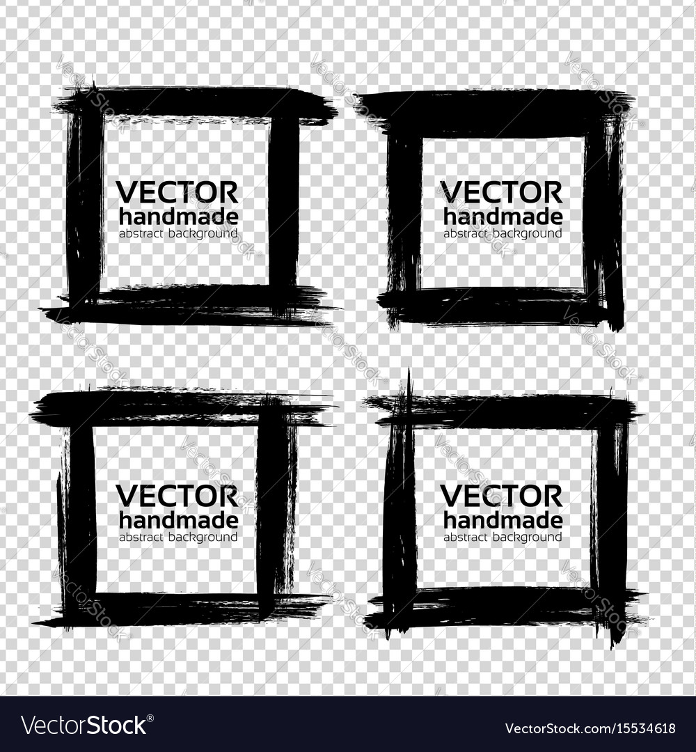 Square frames of thick textured strokes made with vector image
