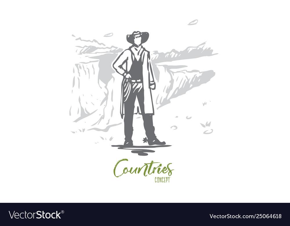 Usa cowboy national america state concept