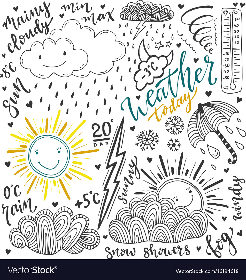 Weather doodles icon set hand drawn sketch with