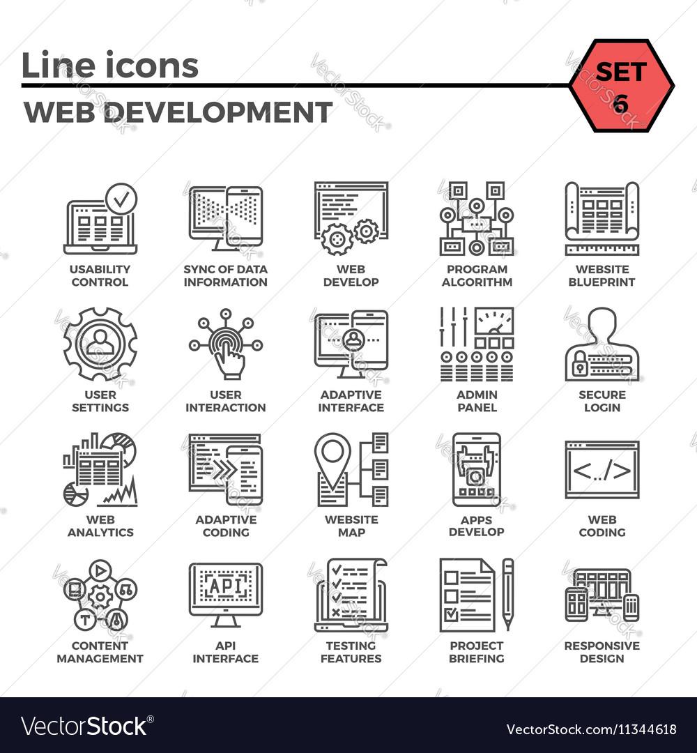 Web Development Line Icon Set vector image