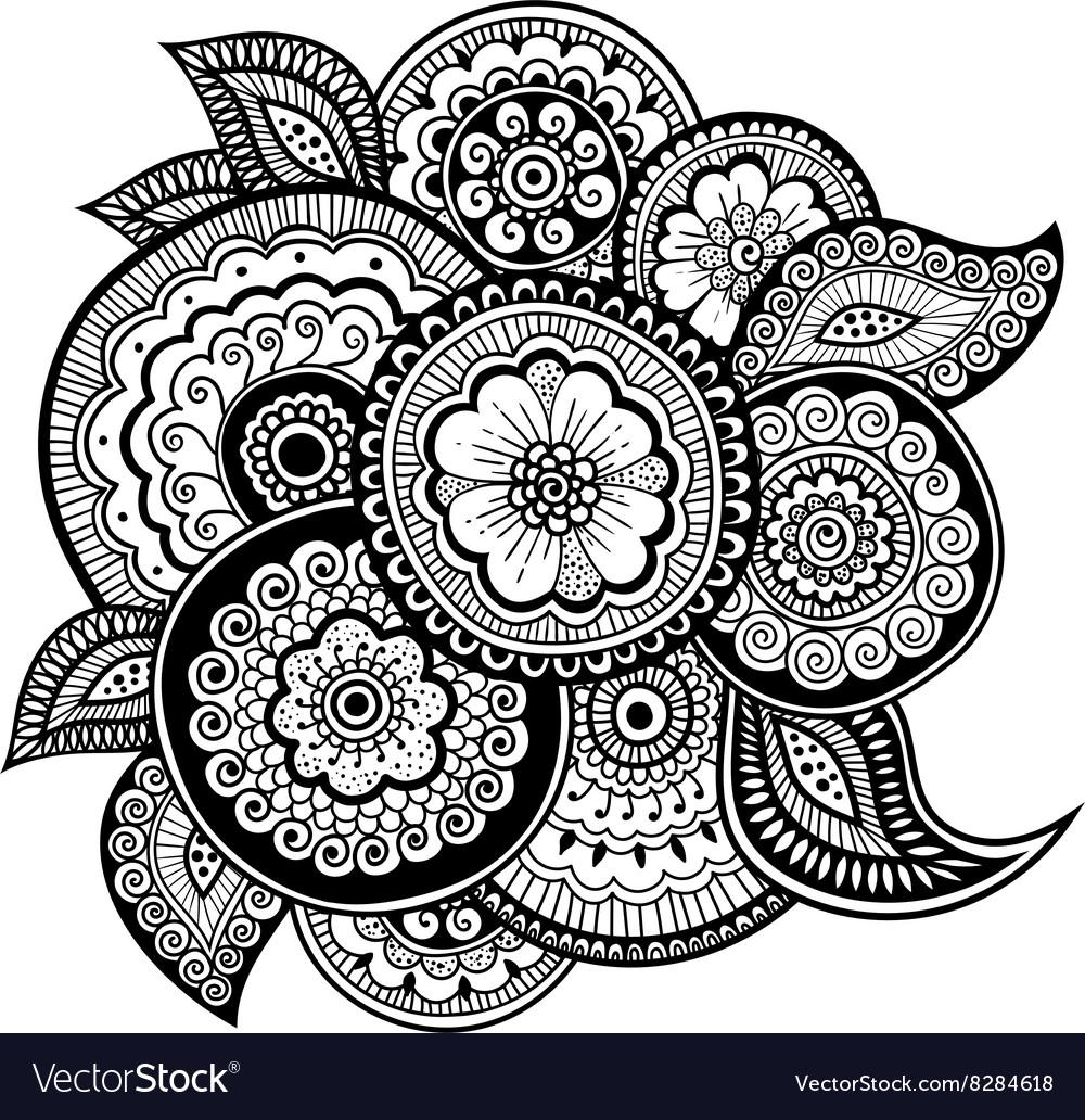 Zen-tangle floral pattern Mehndi style vector image