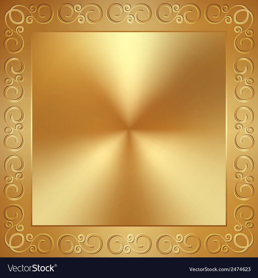 Abstract metal gold frame with ornament Royalty Free Vector