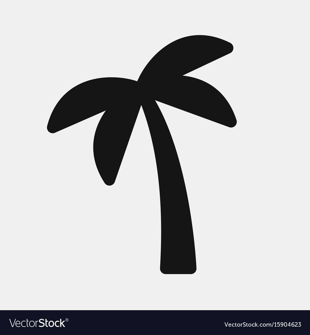 Black color palm icon vector image