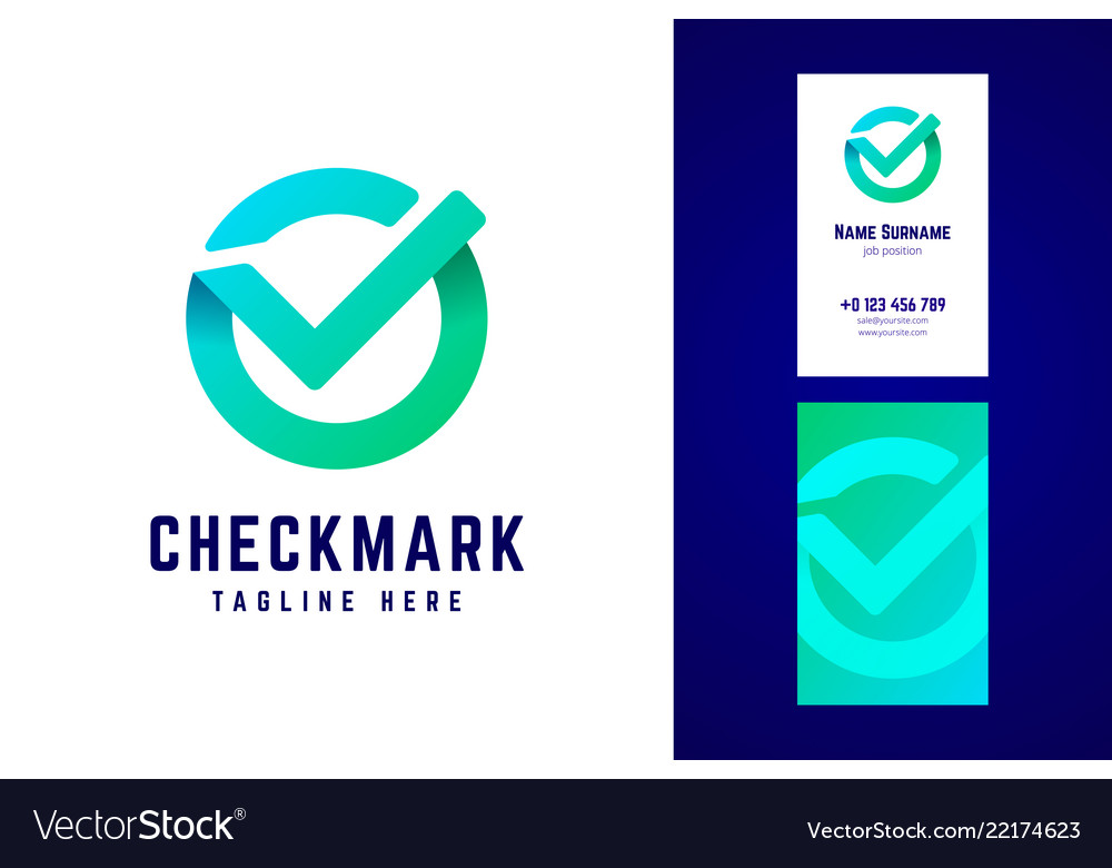 Check mark logo and business card template in