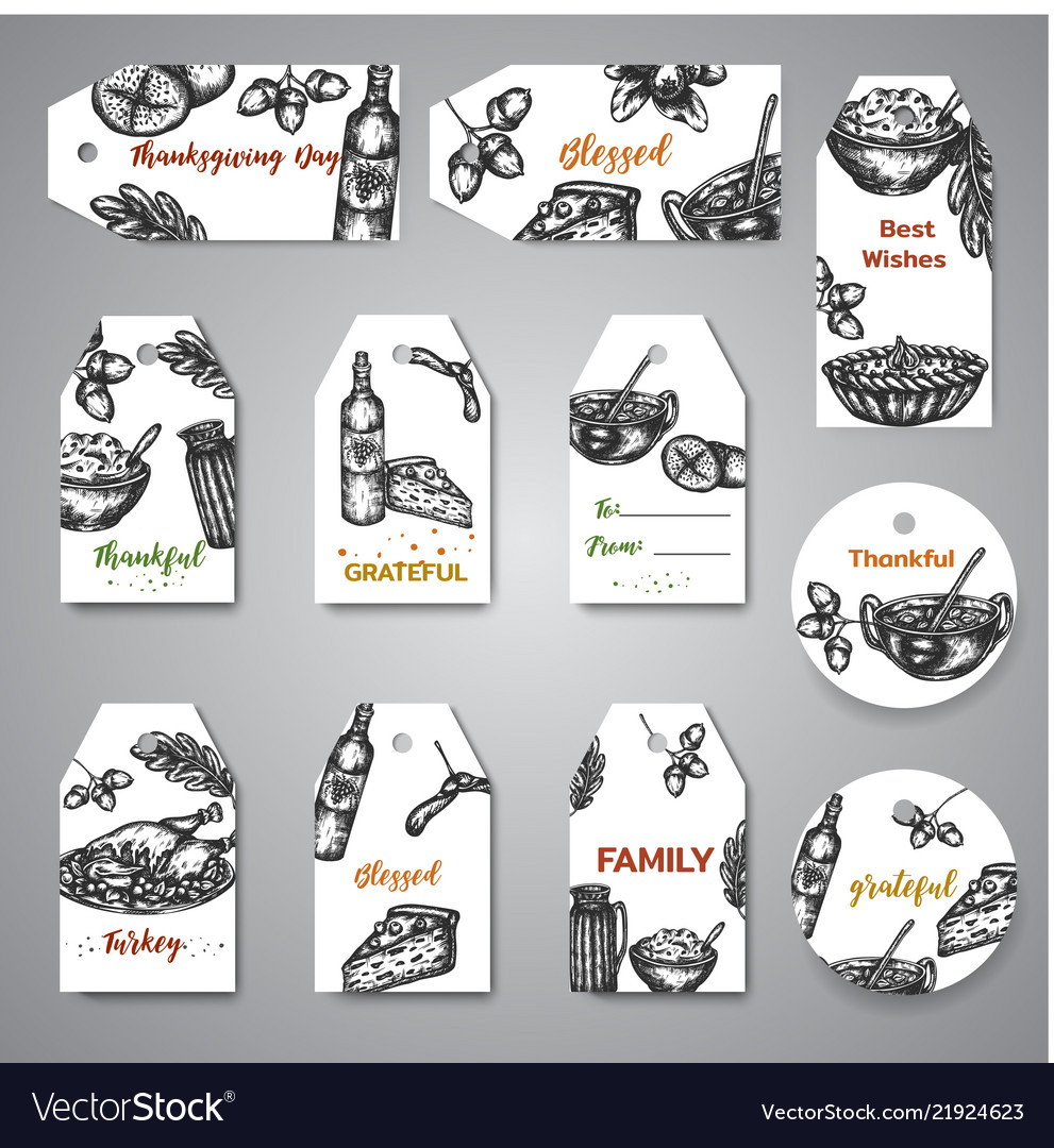 Collection hand drawn tags for thanksgiving day