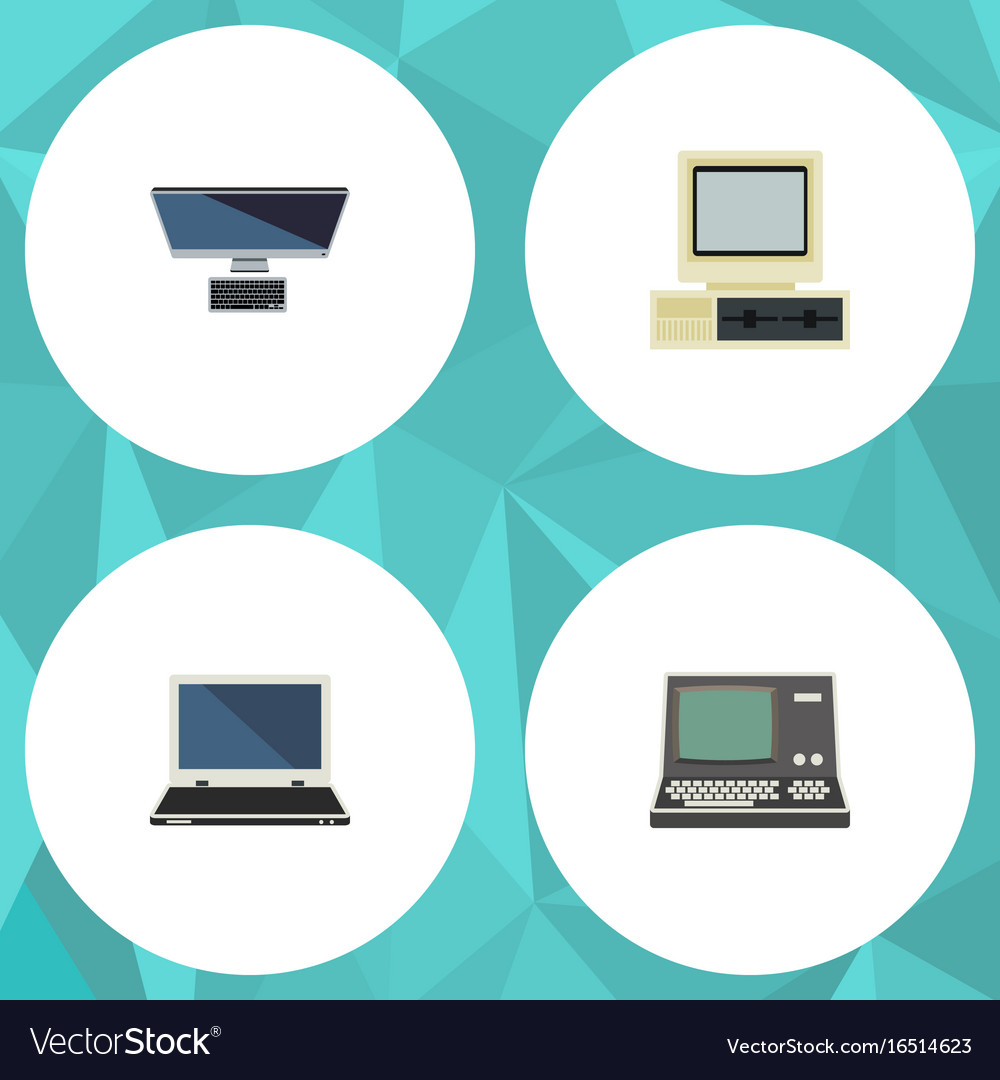 Flat icon computer set of computer technology