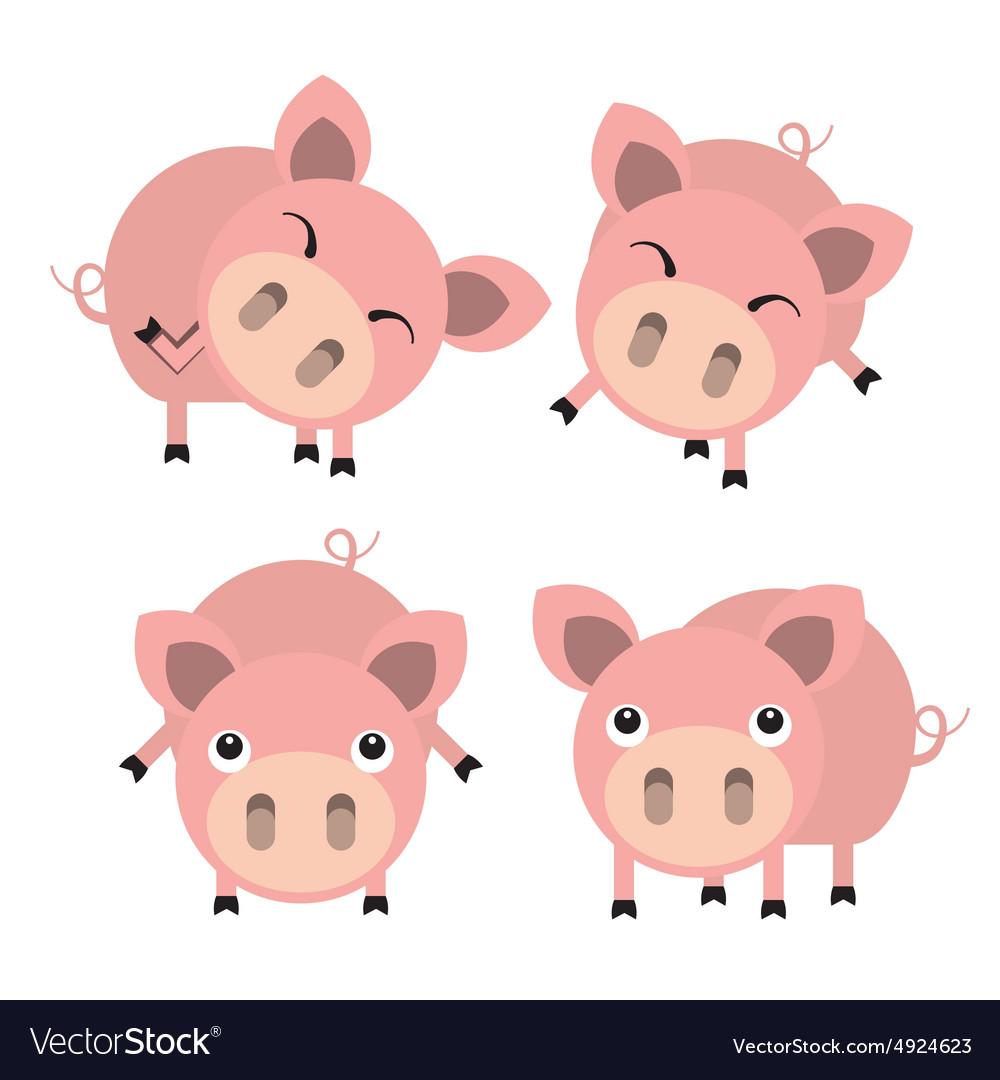 Four cute cartoon pigs vector image