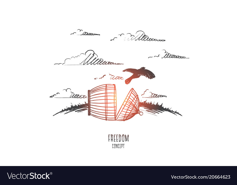 Freedom concept hand drawn isolated