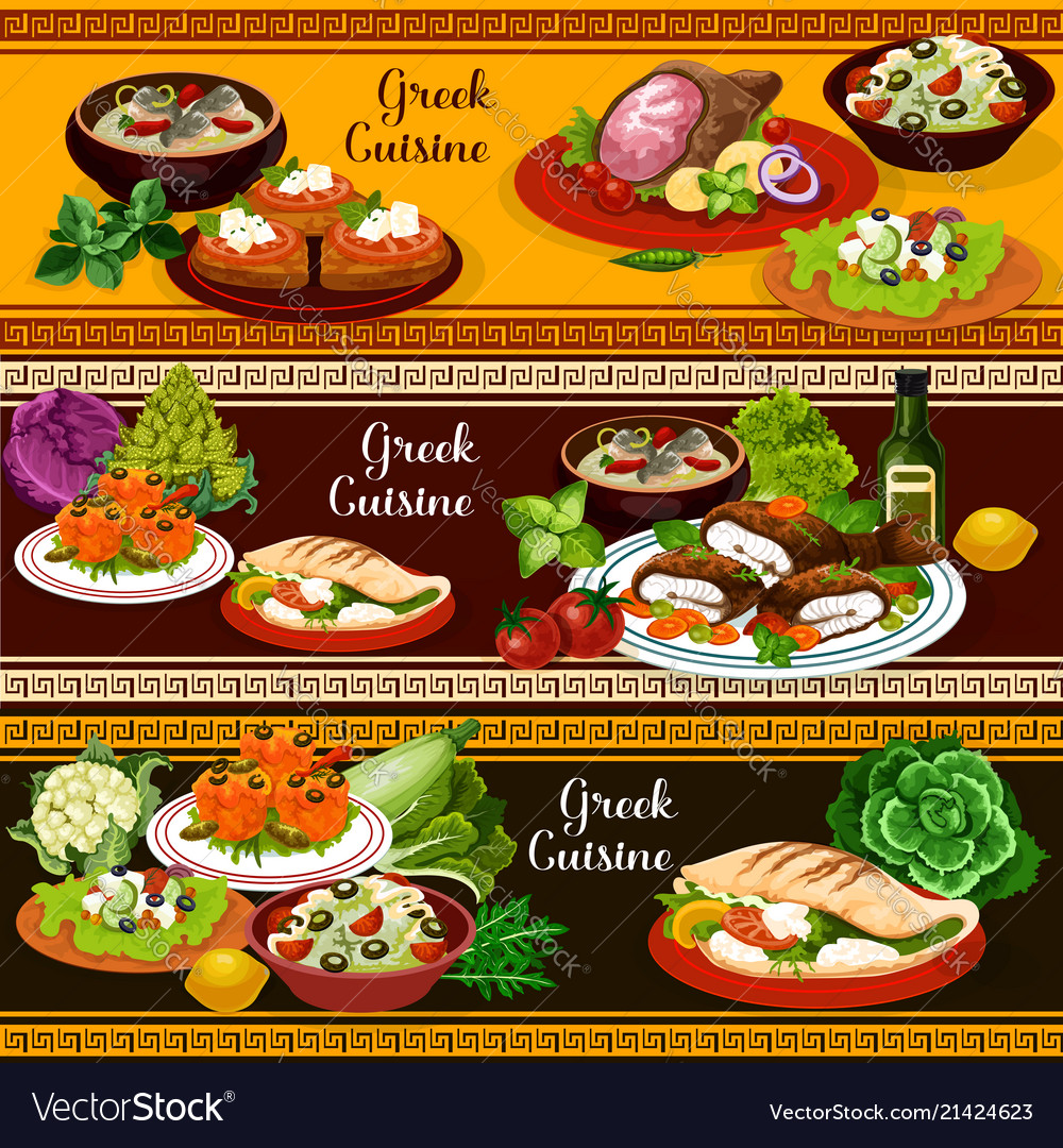 Greek cuisine banners mediterranean food dishes