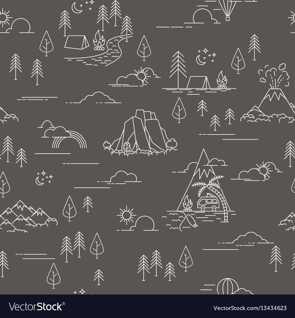 Pattern with hiking and landscape elements vector image