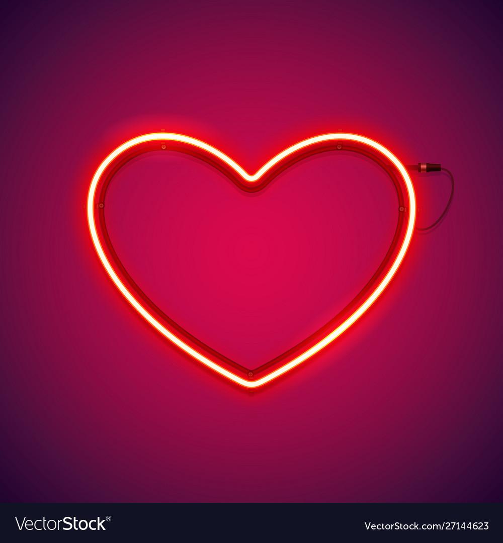 red romantic neon heart vector 27144623