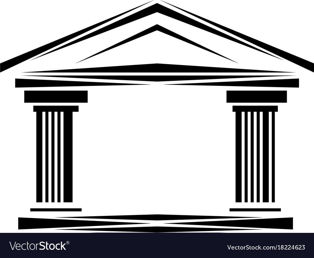 Roman classical arch logo facade ionic columns vector image