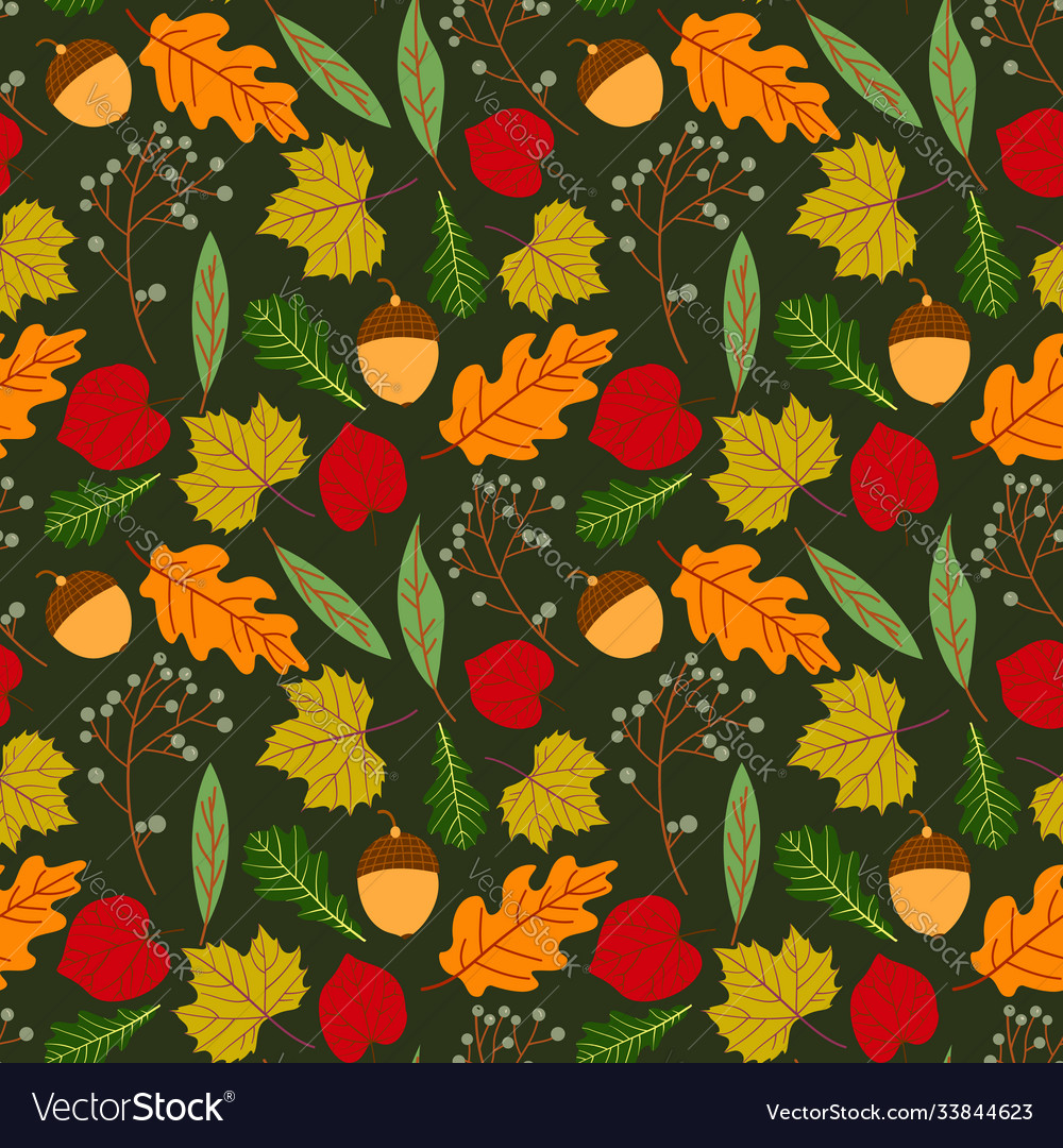 Seamless pattern with doodle leaves autumn